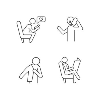 Everyday life linear icons set