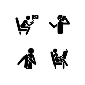 Everyday life black glyph icons set on white space