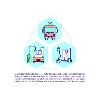 Public alternative transportation concept line icons with text
