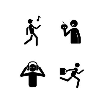 Everyday activities black glyph icons set on white space
