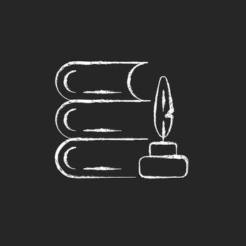 Literature chalk white icon on dark background