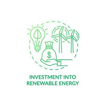 Investment into renewable energy concept icon