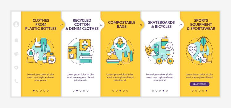 Upcycled materials onboarding vector template