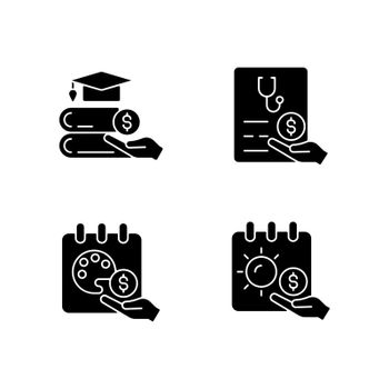 Workplace wellbeing benefits black glyph icons set on white space