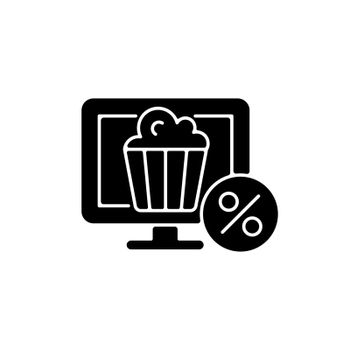 Discounts for online cinema subscription black glyph icon