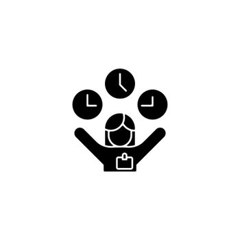 Flexible hours black glyph icon