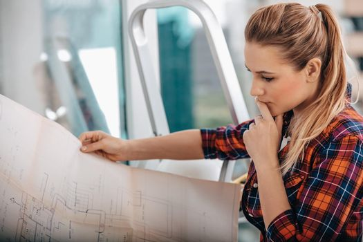 Female Architect with the Plan
