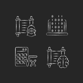Humanities and applied subjects chalk white icons set on dark background