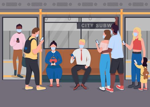 Public transport during epidemic flat color vector illustration