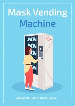 Masks vending machine poster flat vector template