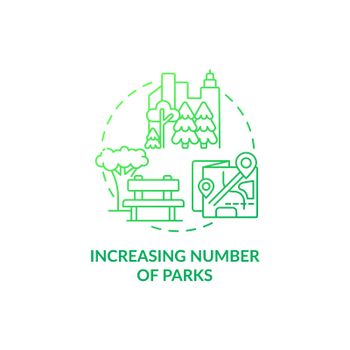 Increasing number of parks concept icon