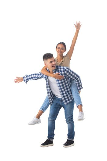 Laughing teen playful couple