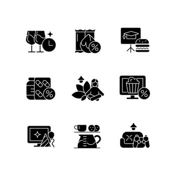 Employee benefits for wellbeing black glyph icons set on white space