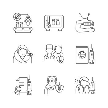 Covid vaccination linear icons set