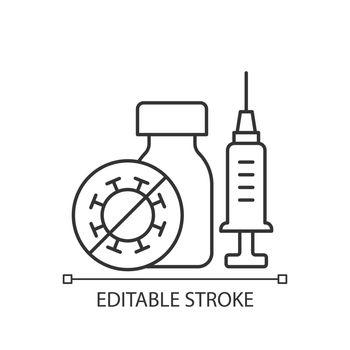 Covid vaccination linear icon