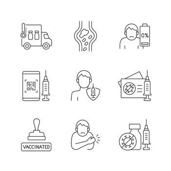 Covid passport linear icons set
