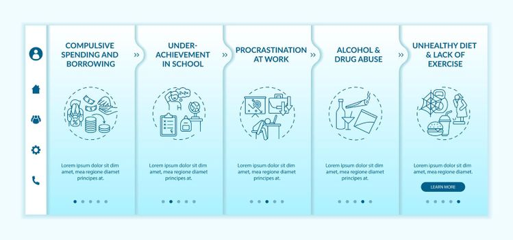 Major self-control problems onboarding vector template