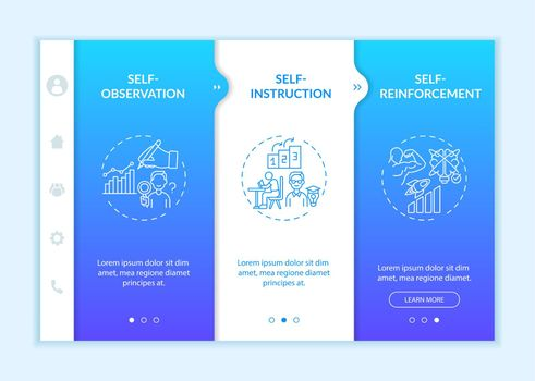 Self-control techniques onboarding vector template