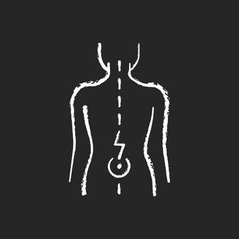 Lower back pain chalk white icon on black background