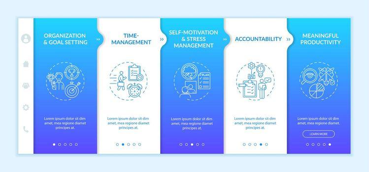 Self-management skills onboarding vector template