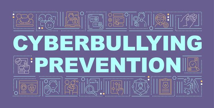 Cyberbullying prevention word concepts banner