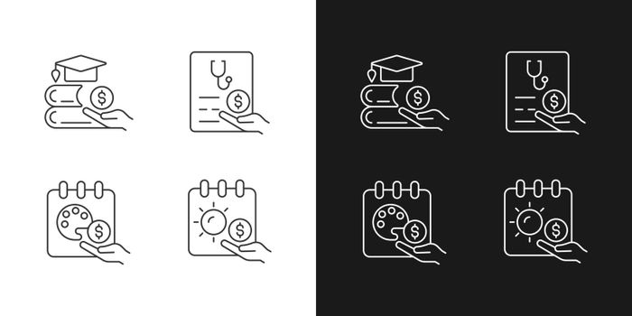 Workplace wellbeing benefits linear icons set for dark and light mode