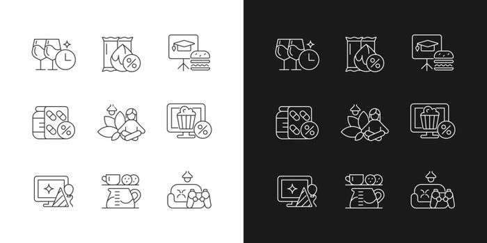 Employee benefits for wellbeing linear icons set for dark and light mode