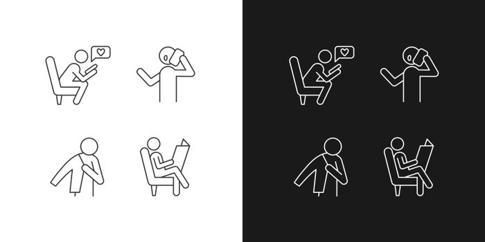 Everyday life linear icons set for dark and light mode