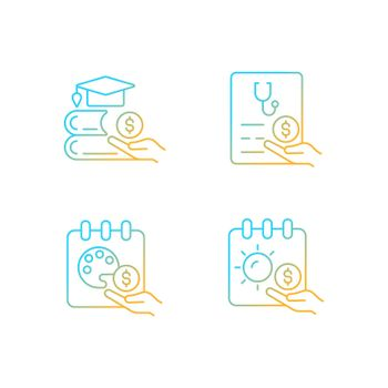 Workplace wellbeing benefits gradient linear vector icons set