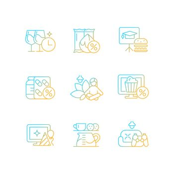 Employee benefits for wellbeing gradient linear vector icons set
