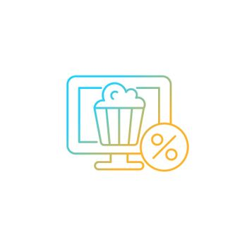Discounts for online cinema subscription gradient linear vector icon