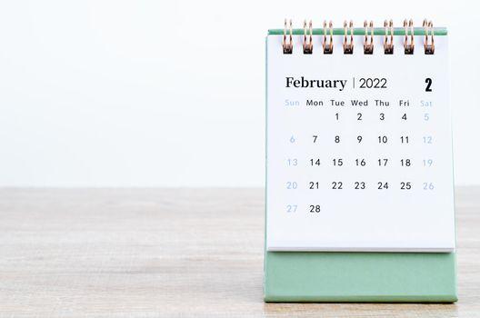 February 2022 desk calendar.