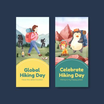 Flyer template with hiking concept,watercolor style