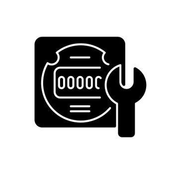 Electrical meter repair black glyph icon