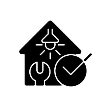 Electrical safety inspection black glyph icon