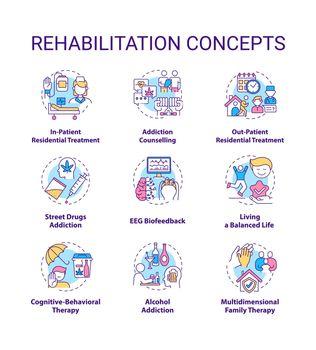 Rehabilitation concept icons set