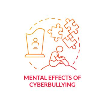 Mental cyberbullying effects concept icon