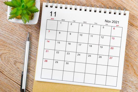 November 2021 desk calendar