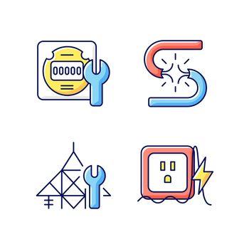 Electrician service RGB color icons set
