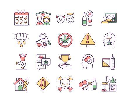 Rehabilitation RGB color icons set
