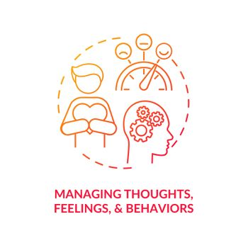 Managing thoughts, feelings and behaviors concept icon