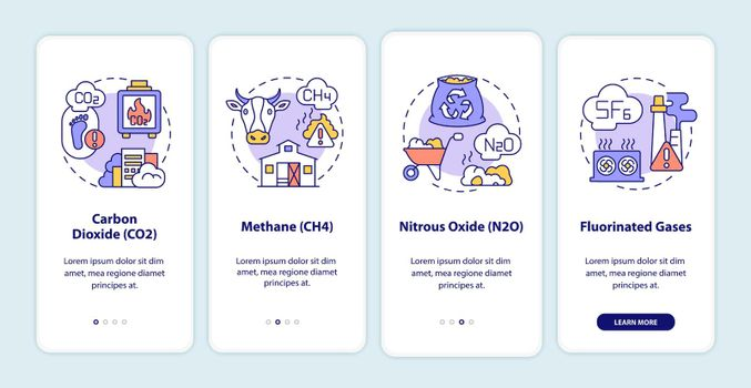 Greenhouse gases types onboarding mobile app page screen with concepts