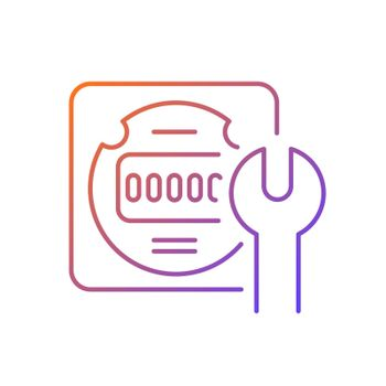 Electrical meter repair gradient linear vector icon