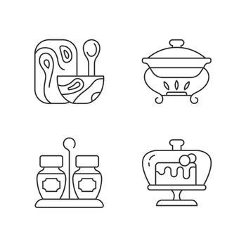 Modern tableware linear icons set