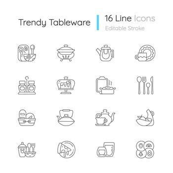 Trendy tableware linear icons set