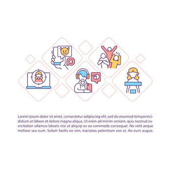 Bullying in cyberspace concept line icons with text