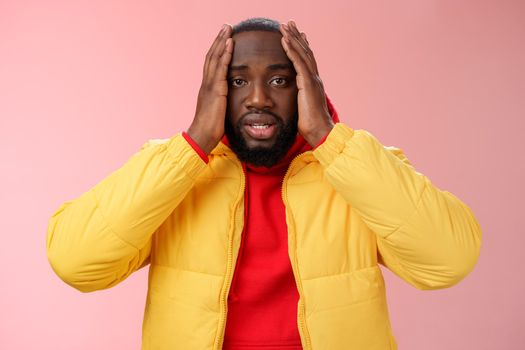 Shocked upset african-american bearded guy feel regret stunned hear terrible news hold hands head widen eyes stupor standing speechless troubled, look perplexed terribly sad, pink background