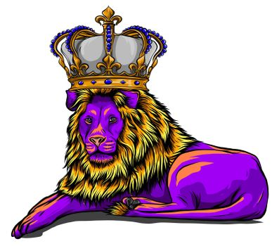 Royal lion with crown - animal king head with long mane
