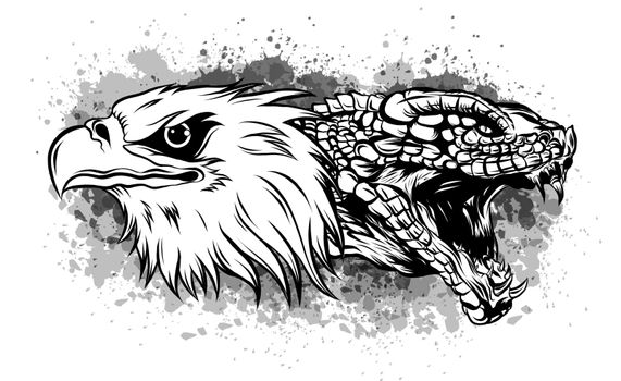 eagle fighting a snake serpent . Tattoo style vector