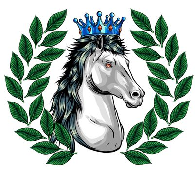 horse head with flying mane vector illustration